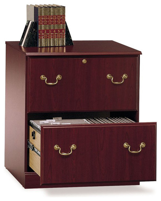 Gentil Bush Saratoga Executive 2 Drawer Lateral Wood File Cabinet In Cherry