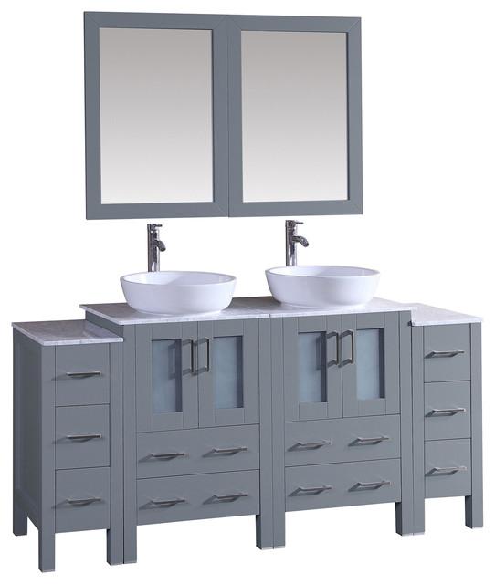 72 Bosconi Gray Double Vanity Bathroom Vanities And Sink Consoles B