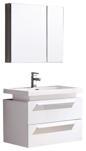 Fresca Medio White Vanity w/ Medicine Cabinet by Fresca