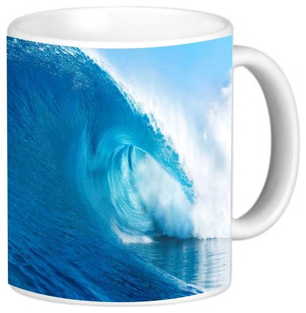 Wave Surfing Coffee Mug Contemporary Mugs By Rikki