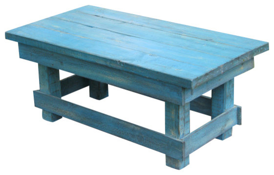 Joyce Distressed Coffee Table Rustic Turquoise Rustic Coffee Tables