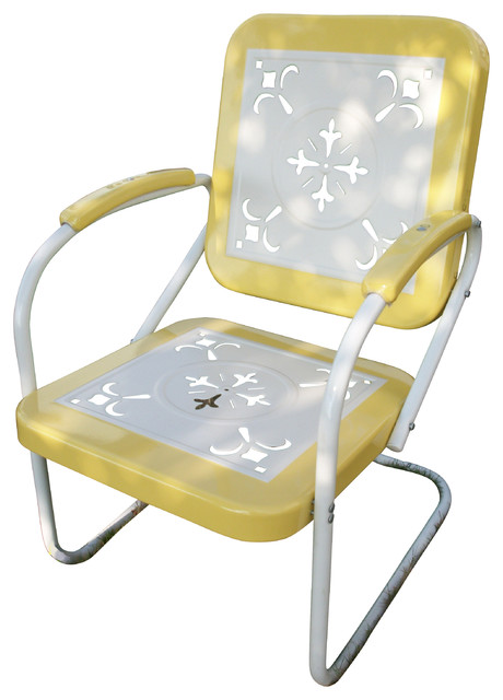 Metal Chair Retro, White Metal, Yellow Eclectic Patio Furniture And