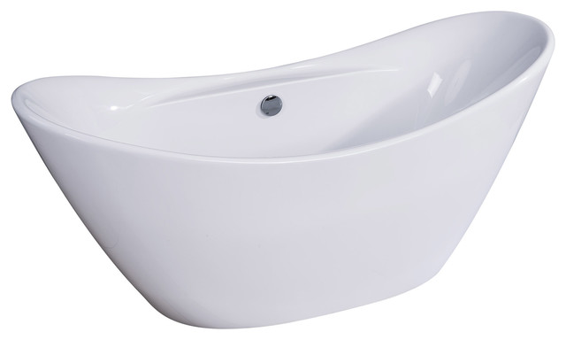 "Dyconn Faucet Siena Freestanding Acrylic Bathtub, Glossy White 68""."