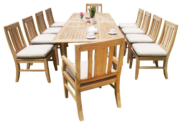 Teak deals 11 piece outdoor teak dining set 122 x for 11 piece dining table set