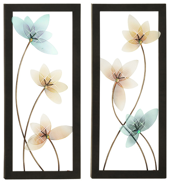 Wall Art Set Of 2 urban designs spring jewel hand-crafted led lighted metal wall art