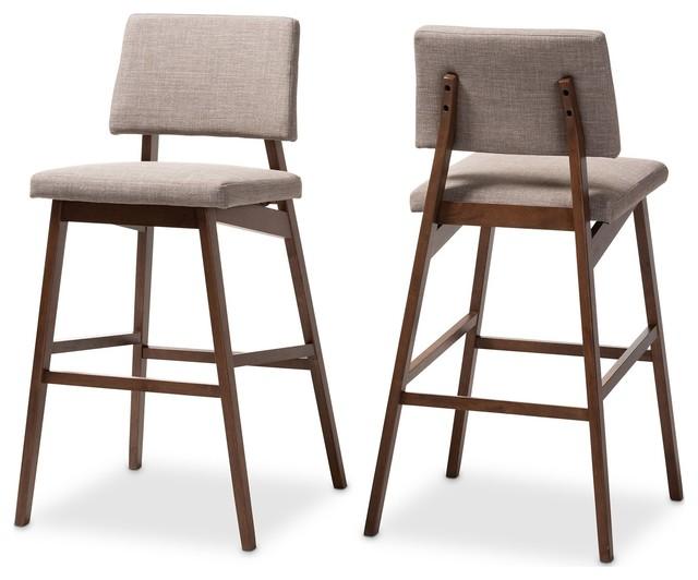 Baxton Studio Colton Light Gray Fabric Upholstered And Walnut Wood Bar Stool Set
