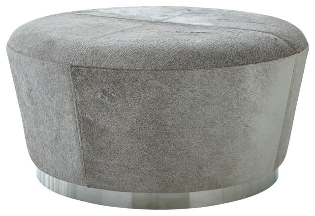 Modern Minimalist Gray Hairhide Drum Ottoman, Coffee Table Leather Round  Silver