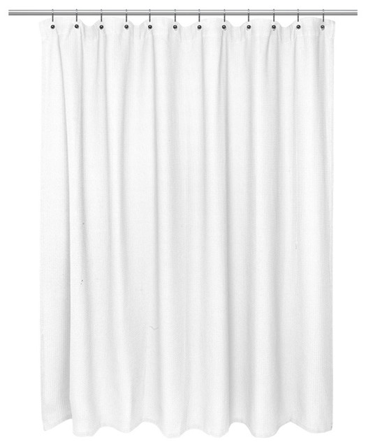 American Crafts Waffle Weave 100% Cotton Shower Curtain, White
