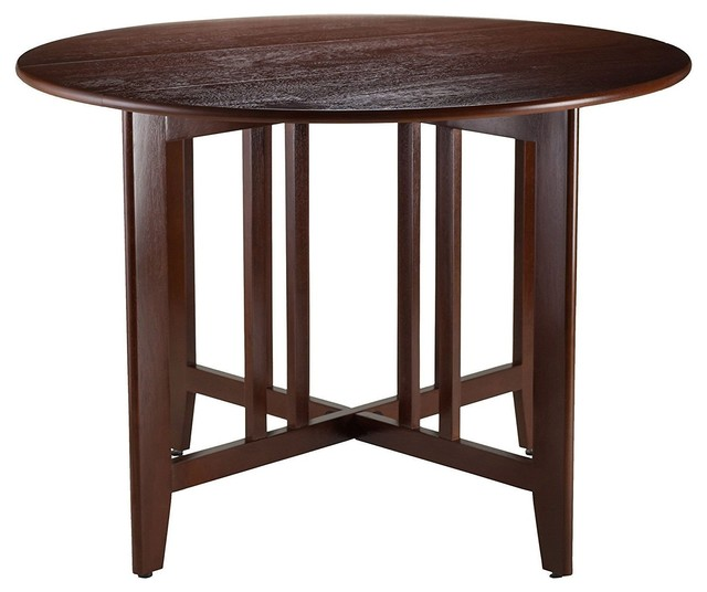 Mission Style Round 42 Inch Double Drop Leaf Dining Table