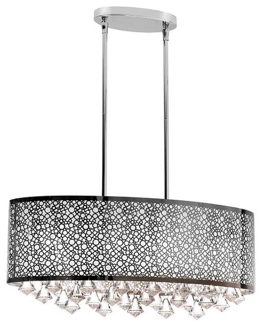 Oval Chandeliers: Dainolite 6LT Crystal Oval Chandelier contemporary-chandeliers,Lighting