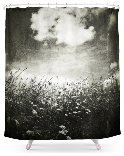 Society6 Counting Flowers Like Stars Black And White Shower Curtain Contemporary Shower