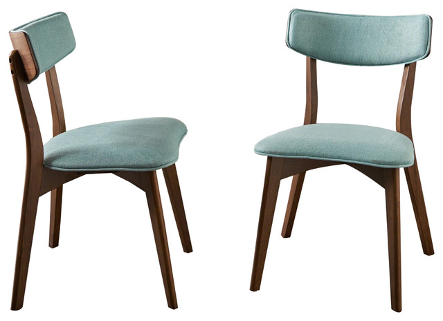 Molly Mid Century Modern Dining Chairs, Set Of 2, Mint, Natural Walnut.