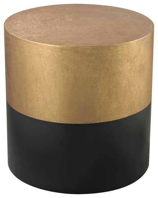 Dimond Home Black And Gold Draper Drum Table Contemporary Side Tables And