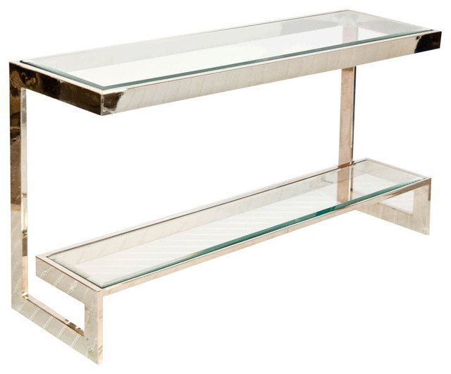 Attractive Worlds Away, Noho Low Console Table, Noho Console, Nickel Modern Console