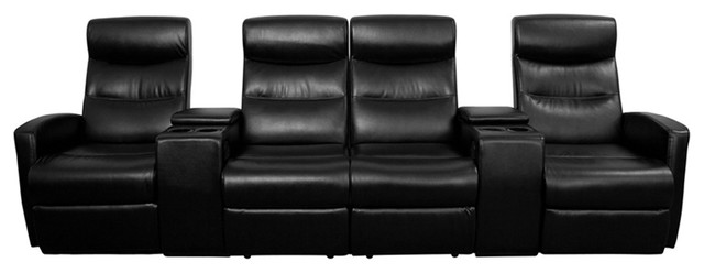 Flash Furniture Black Leather 4 Seat Home Theater Recliner With Storage Consoles