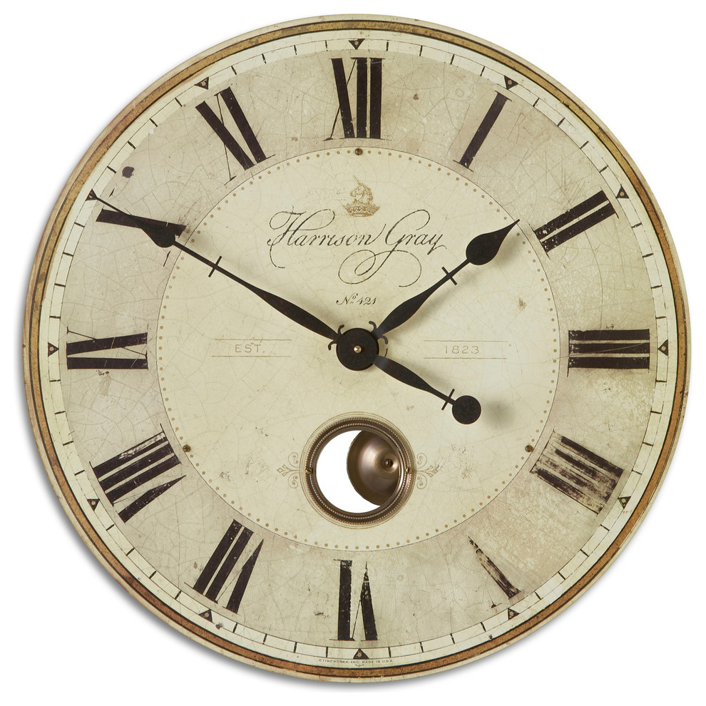 Large Gray Pendulum Wall Clock Roman Numerals 23 Brass Exposed Traditional Farmhouse Wall Clocks By My Swanky Home Houzz