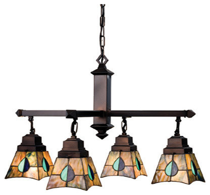 "Meyda 26"" Mackintosh Leaf 4-Light Chandelier"