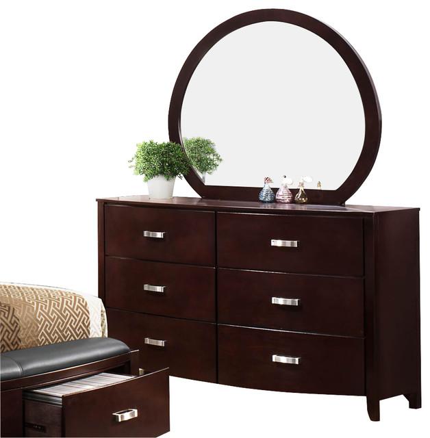 Homelegance Lyric 6 Drawer Dresser With Mirror In Dark Espresso.