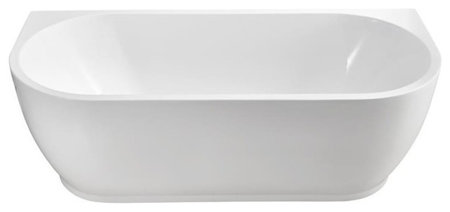 "67"" Soaking Wall Adjacent Apron Tub With Internal Drain, White."