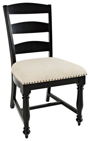 Castle Hill Ladder Back Dining Chairs, Set of 2, Antique Black