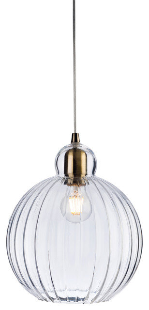 Victory Clear Round Glass Pendant Light, Antique Brass