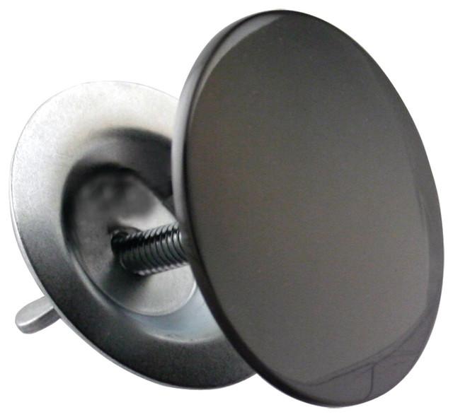 "sink hole cover, 2"" diameter in flat black in powder coated flat"