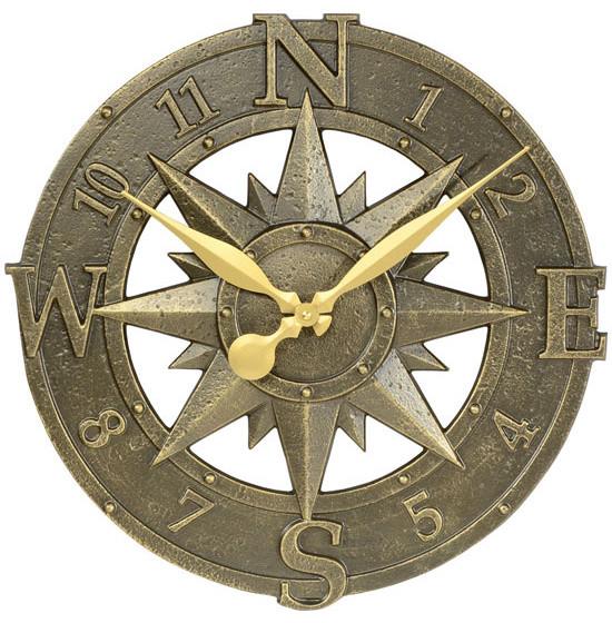 decorative clock compass rose bronze verdi southwestern outdoor clocks - Decorative Clocks