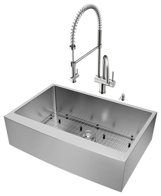 "Vigo All-In-One Bedford Stainless Steel Farmhouse Kitchen Sink Set, 33""."