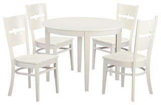 Boston 5-Piece Solid Wood Dining Set, Linen White