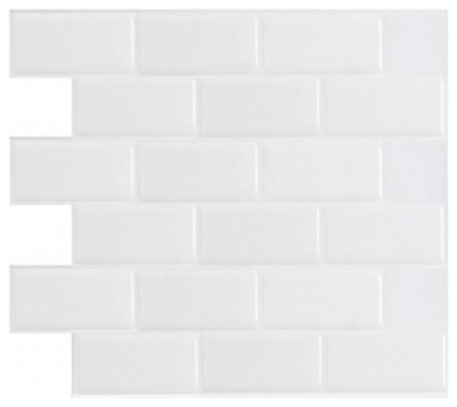"Peel And Stick Mosaic Subway Backsplash Wall Tiles, White, 12""x12"", Set Of 10."