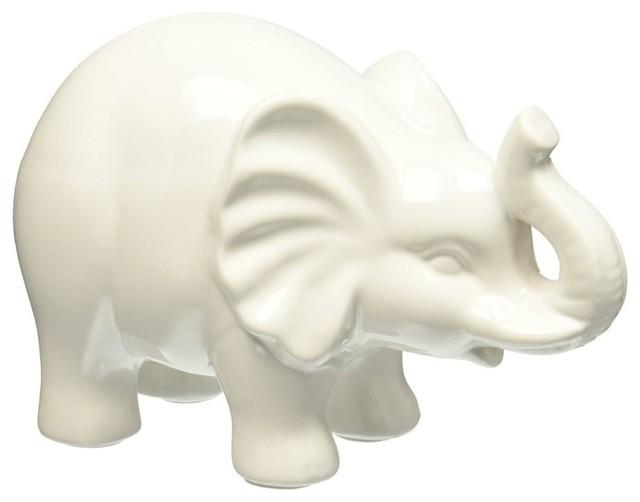 Superb Small Ceramic Elephant Figurines Gloss White