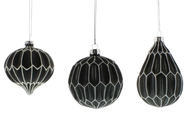 Black Christmas Ornaments.Elegant Black White Classic Shapes Ornament Set Of 6 Glass Christmas Tree