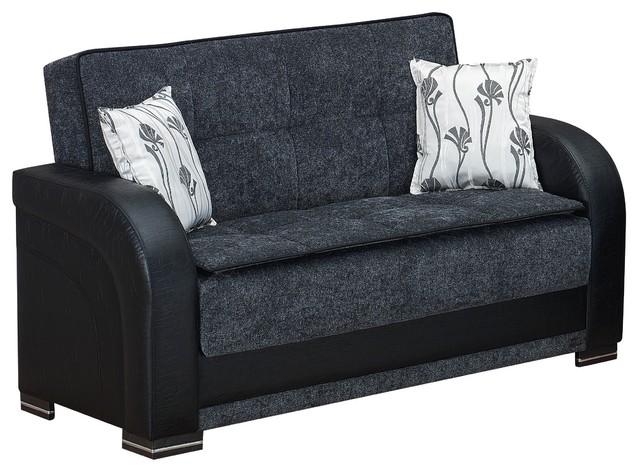 Empire Furniture Usa Oklahoma Upholstered Convertible Loveseat, Gray.