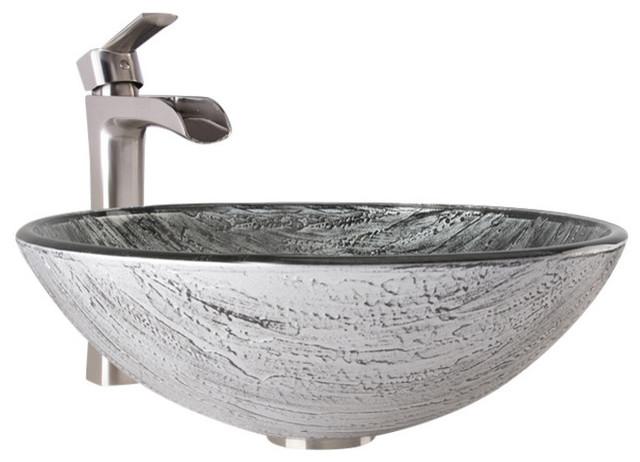 Vigo Bathroom Faucets vigo titanium glass vessel bathroom sink and niko faucet set