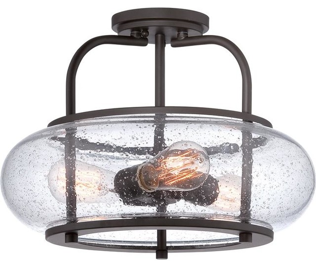 Quoizel Trg1716 Trilogy 3-Light Bronze Semi-Flush Ceiling Fixture.