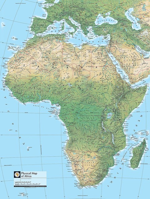 contemporary map of africa Physical Map Of Africa Wallpaper Wall Mural Self Adhesive contemporary map of africa