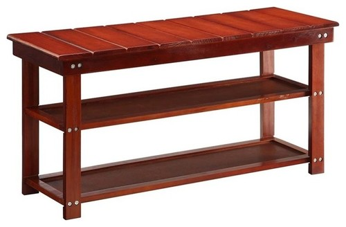Pemberly Row Entryway Bench in Cherry