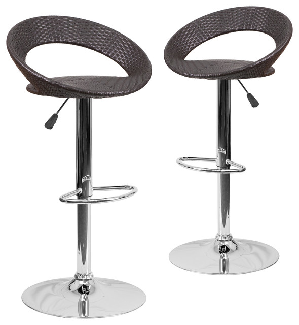 Magnificent Wicker Rounded Back Adjustable Height Bar Stools With Chrome Set Of 2 Squirreltailoven Fun Painted Chair Ideas Images Squirreltailovenorg