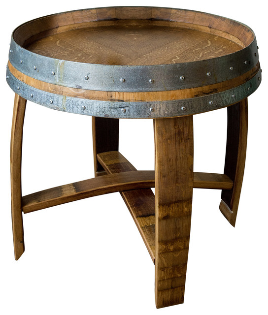 Banded Wine Barrel Side Table With Cross Braces Golden