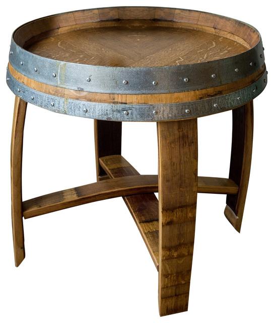 Banded Wine Barrel Side Table With Cross Braces Golden Oak Finish
