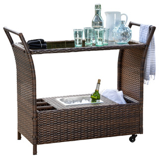 Benett Wicker Serving Bar Cart Brown Tropical Outdoor Carts By Gdfstudio