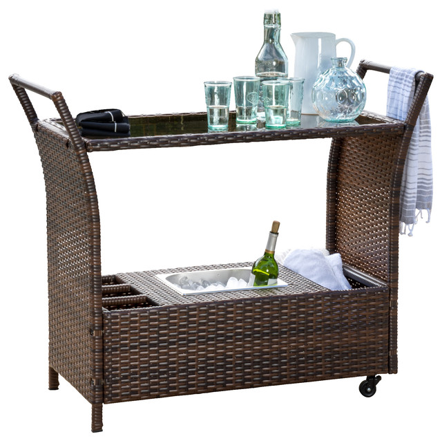 GDFStudio Benett Multi Brown Wicker Serving Bar Cart  : tropical outdoor serving carts from www.houzz.com size 640 x 638 jpeg 110kB