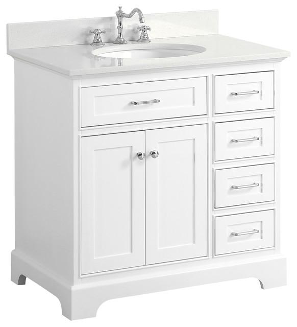 "Aria Bathroom Vanity, Base: White, 36"", Top: Quartz"