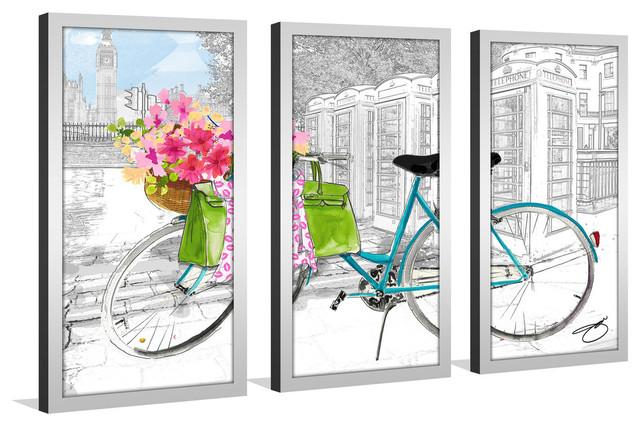 "By Jodi, ""saturday In London"" Framed Plexiglass Wall Art, Set Of 3."