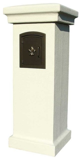 QualArc - Manchester Non-Locking Stucco Column Mailbox - View in Your Room! | Houzz