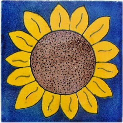4.2x4.2 9 pcs Big Sunflower Talavera Mexican Tile