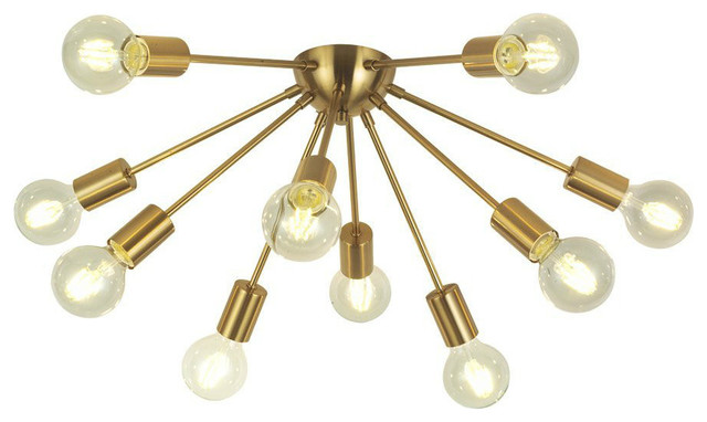 10-Scoket Sputnik Chandelier Brass Mid Century Modern Ceiling Light.