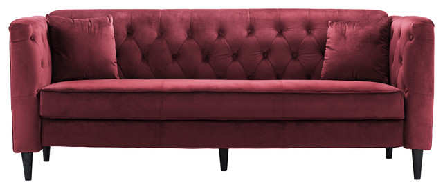 Mid-Century 3-Seater Velvet Sofa With Tufted Buttons, Red. -1