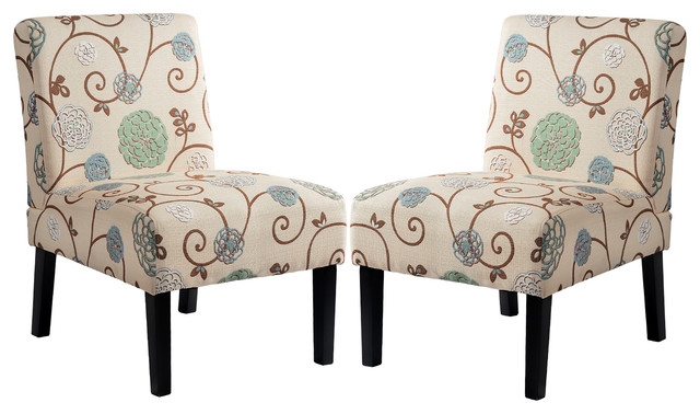 Upholstered Accent Armless Living Room Chair, Set of 2, Beige/Floral