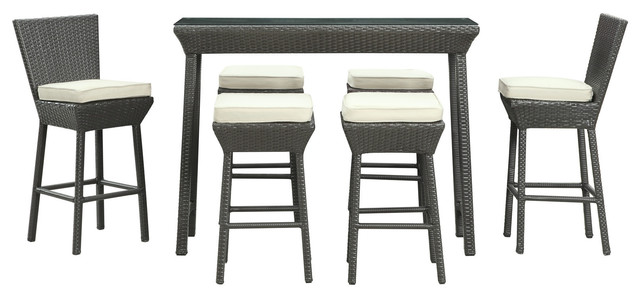 High Quality Napa Outdoor Rattan Pub Table And Stools 7 Piece Set (Espresso And White)